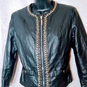 Forever 21 Black Pleather and Gold Chain jacket S